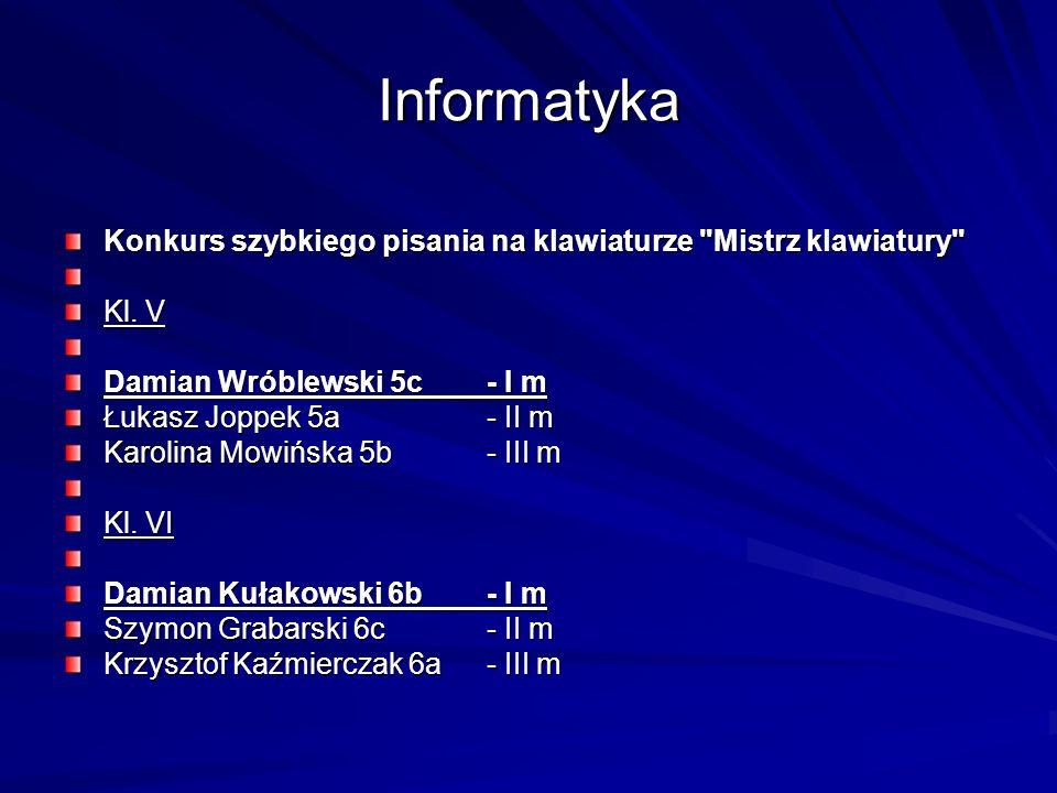 InformatykaKonkurs szybkiego pisania na klawiaturze Mistrz klawiatury Kl. V. Damian Wróblewski 5c - I m.
