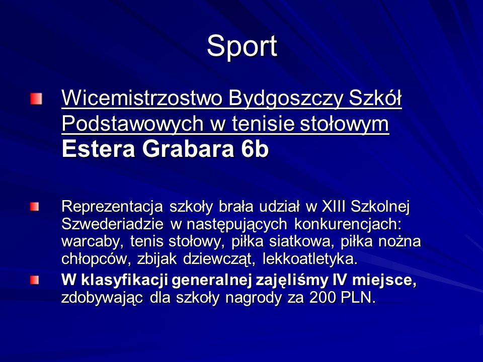 Sport Wicemistrzostwo Bydgoszczy Szkół Podstawowych w tenisie stołowym Estera Grabara 6b.