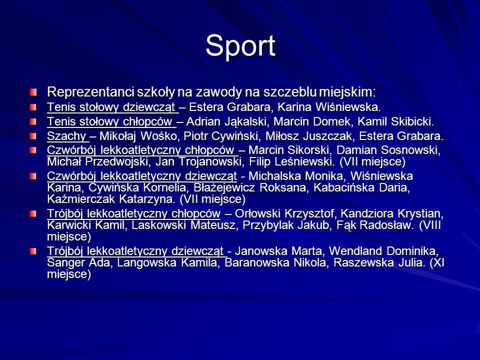 Sport Reprezentanci szkoły na zawody na szczeblu miejskim: