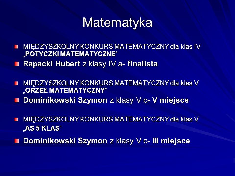 Matematyka Rapacki Hubert z klasy IV a- finalista