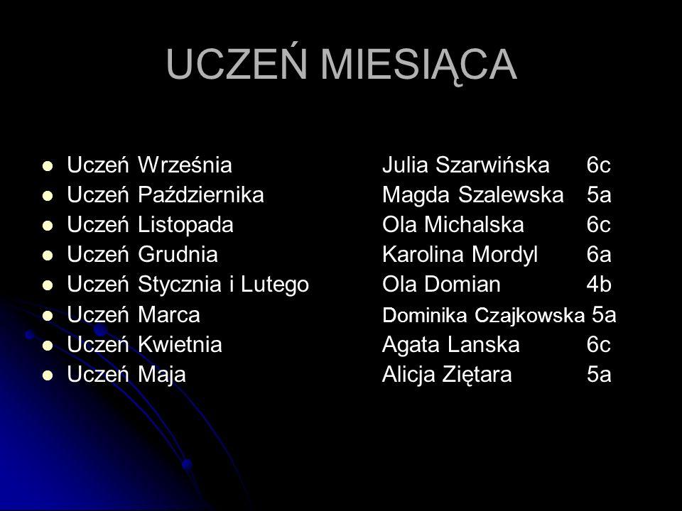 UCZEŃ MIESIĄCA Uczeń Września Julia Szarwińska 6c