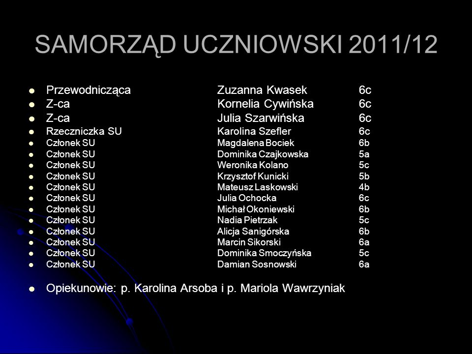 SAMORZĄD UCZNIOWSKI 2011/12 Przewodnicząca Zuzanna Kwasek 6c