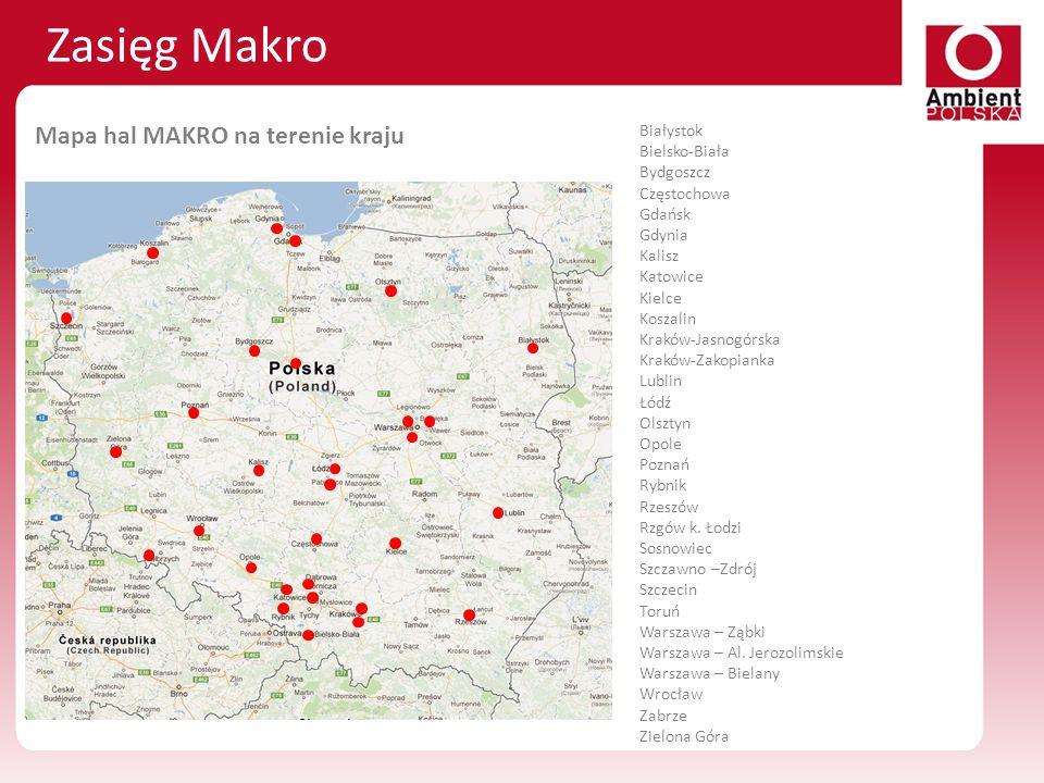 Zasięg Makro Mapa hal MAKRO na terenie kraju