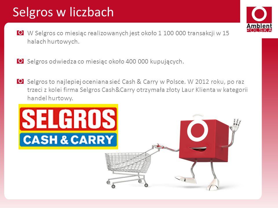 Selgros w liczbach W Selgros co miesiąc realizowanych jest około 1 100 000 transakcji w 15 halach hurtowych.