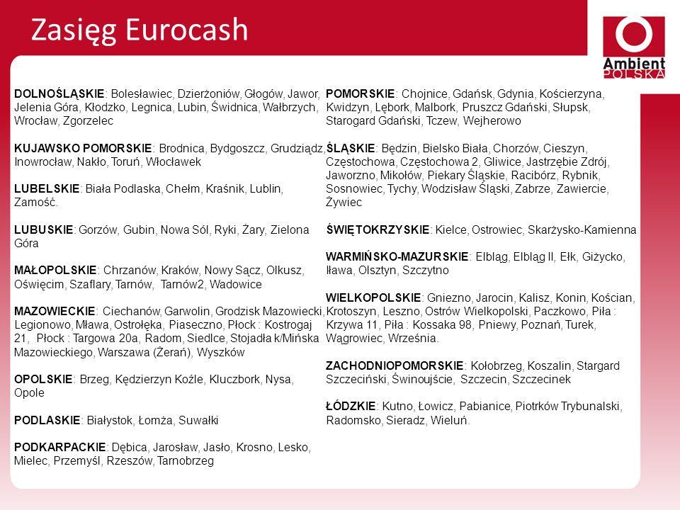 Zasięg EurocashDOLNOŚLĄSKIE: Bolesławiec, Dzierżoniów, Głogów, Jawor, Jelenia Góra, Kłodzko, Legnica, Lubin, Świdnica, Wałbrzych, Wrocław, Zgorzelec.