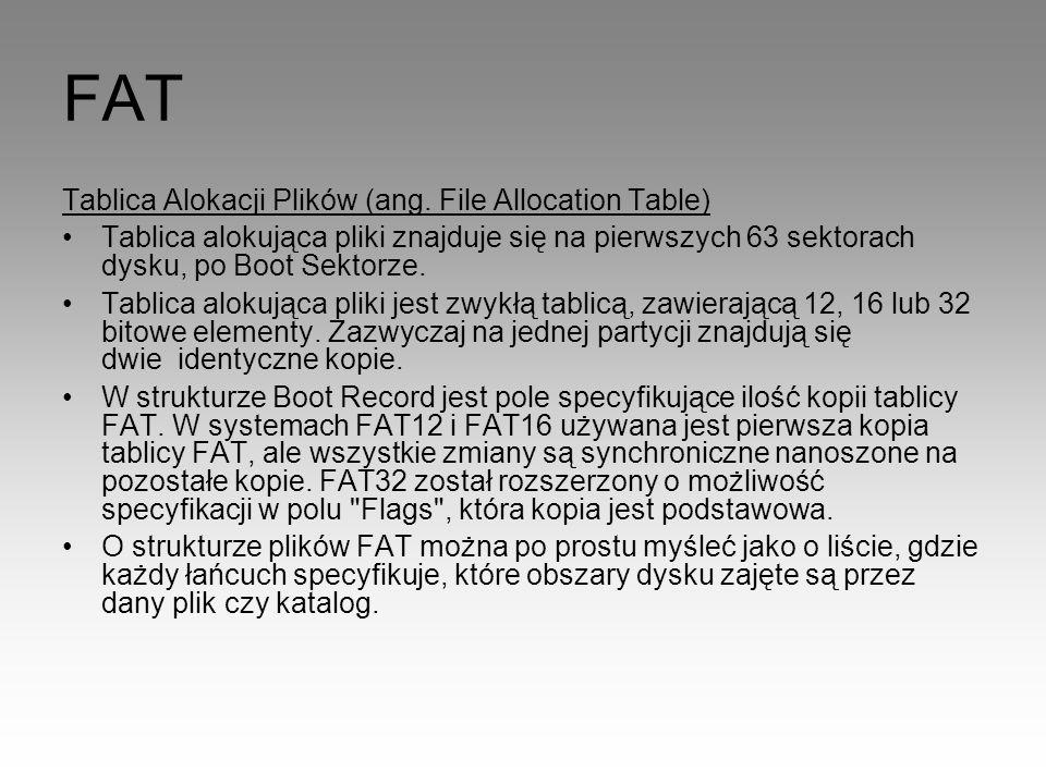 FAT Tablica Alokacji Plików (ang. File Allocation Table)