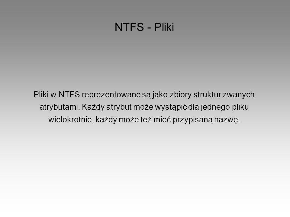 NTFS - Pliki Pliki w NTFS reprezentowane są jako zbiory struktur zwanych. atrybutami. Każdy atrybut może wystąpić dla jednego pliku.