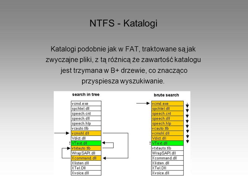 NTFS - Katalogi Katalogi podobnie jak w FAT, traktowane są jak