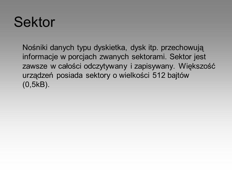 Sektor Nośniki danych typu dyskietka, dysk itp