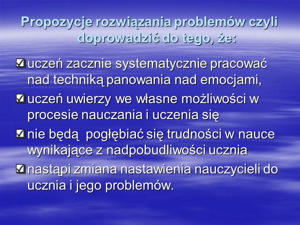 Propozycje rozwiązania problemów czyli doprowadzić do tego, że: