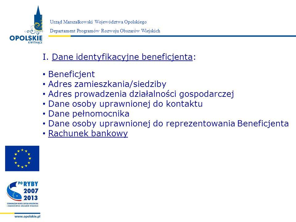 Dane identyfikacyjne beneficjenta: Beneficjent