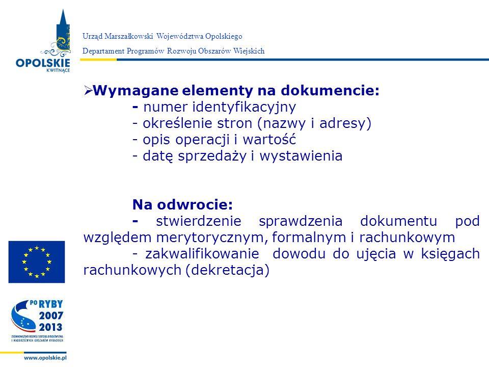 Wymagane elementy na dokumencie: - numer identyfikacyjny