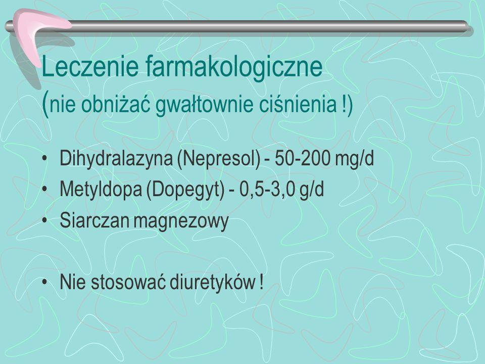 Leczenie farmakologiczne (nie obniżać gwałtownie ciśnienia !)