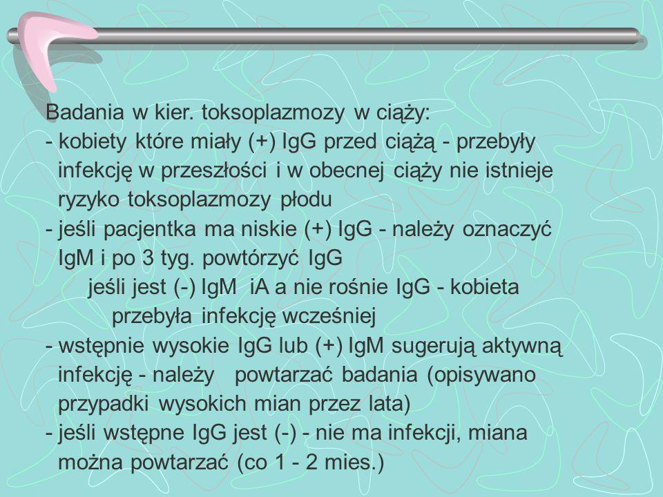 Badania w kier. toksoplazmozy w ciąży: