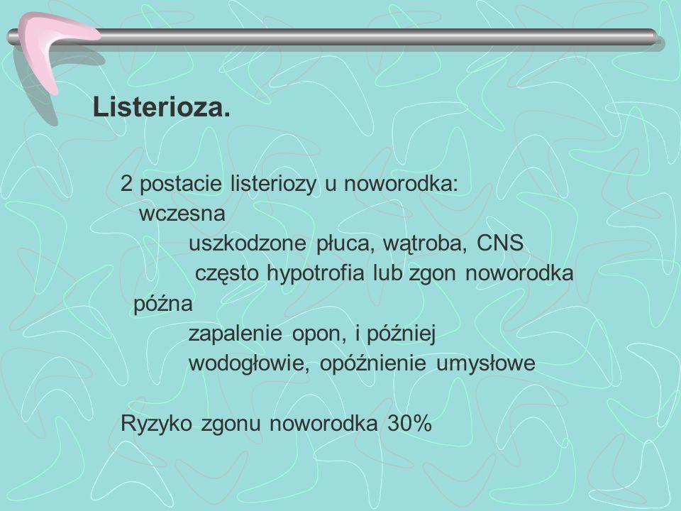 Listerioza. 2 postacie listeriozy u noworodka: wczesna