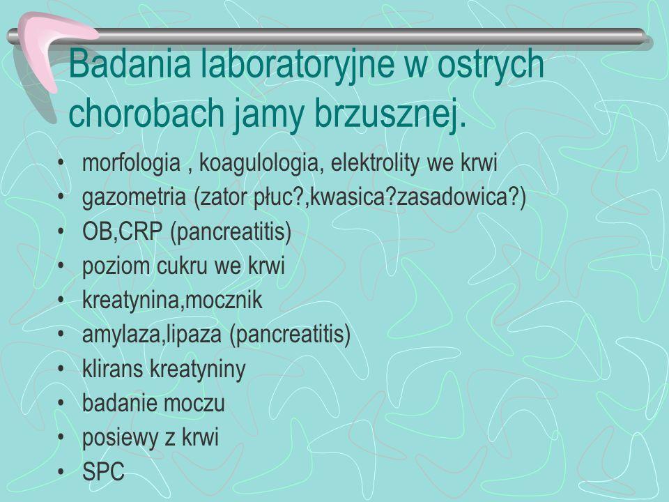 Badania laboratoryjne w ostrych chorobach jamy brzusznej.