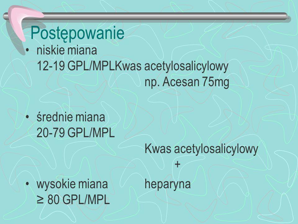 Postępowanie niskie miana 12-19 GPL/MPL Kwas acetylosalicylowy np. Acesan 75mg. średnie miana 20-79 GPL/MPL Kwas acetylosalicylowy +