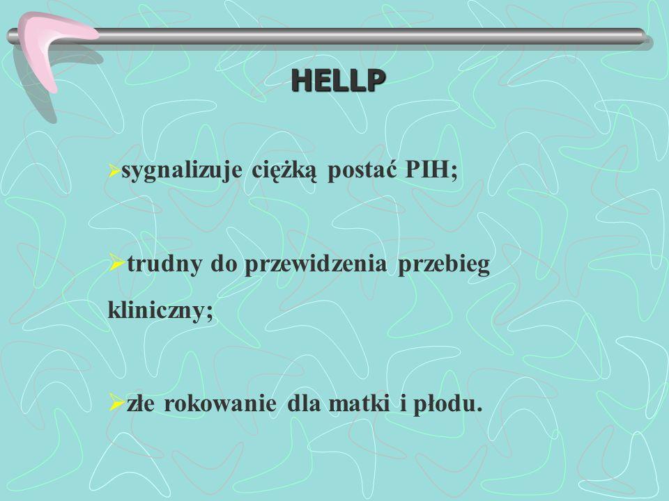 HELLP trudny do przewidzenia przebieg kliniczny;