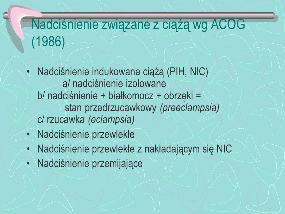 Nadciśnienie związane z ciążą wg ACOG (1986)