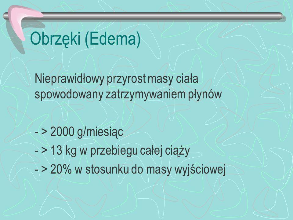 Obrzęki (Edema) Nieprawidłowy przyrost masy ciała spowodowany zatrzymywaniem płynów. - > 2000 g/miesiąc.