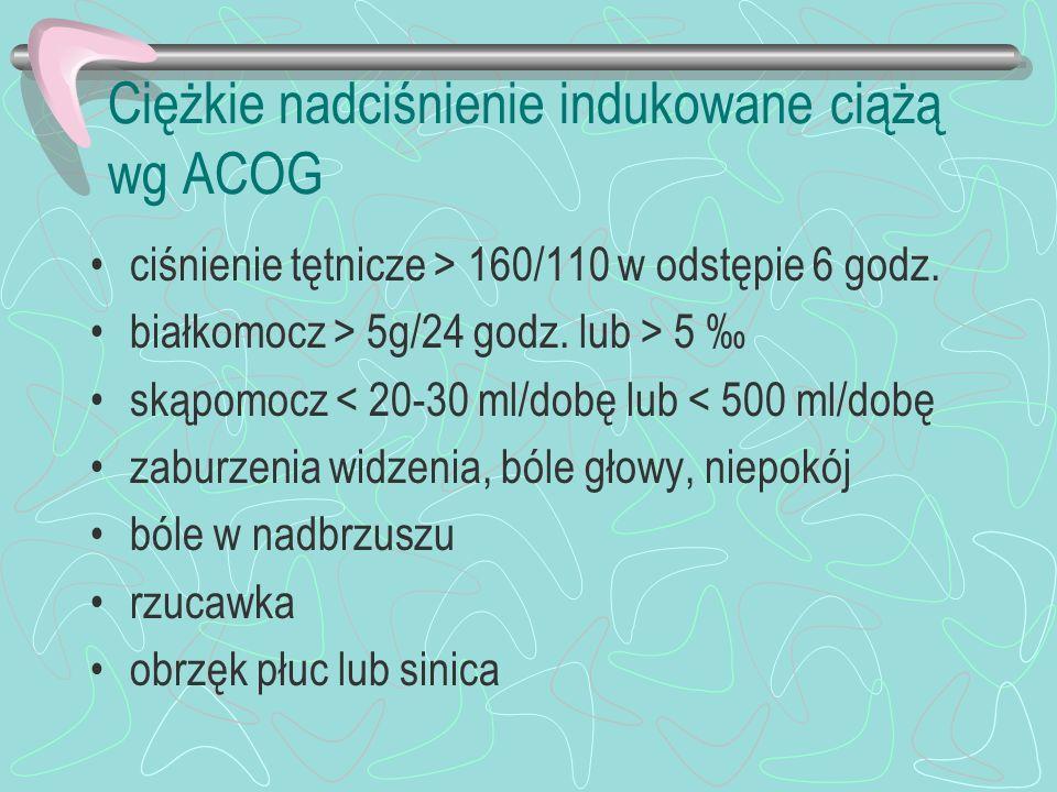 Ciężkie nadciśnienie indukowane ciążą wg ACOG