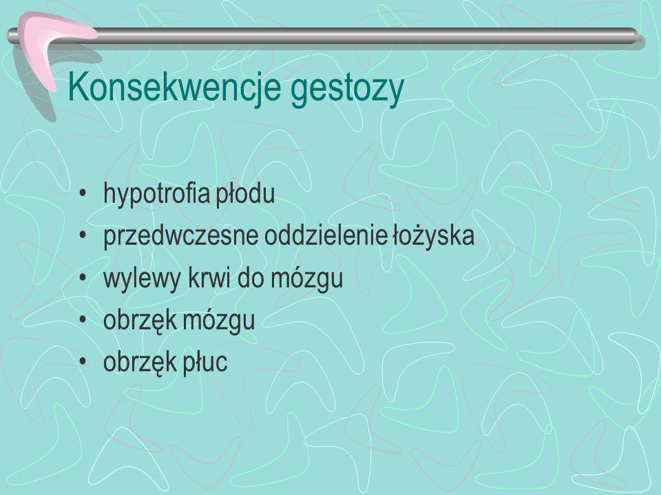 Konsekwencje gestozy hypotrofia płodu przedwczesne oddzielenie łożyska