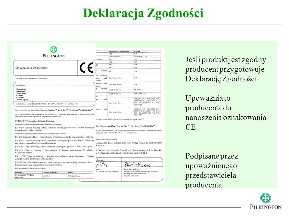 Deklaracja Zgodności Jeśli produkt jest zgodny producent przygotowuje Deklarację Zgodności. Upoważnia to producenta do nanoszenia oznakowania CE.