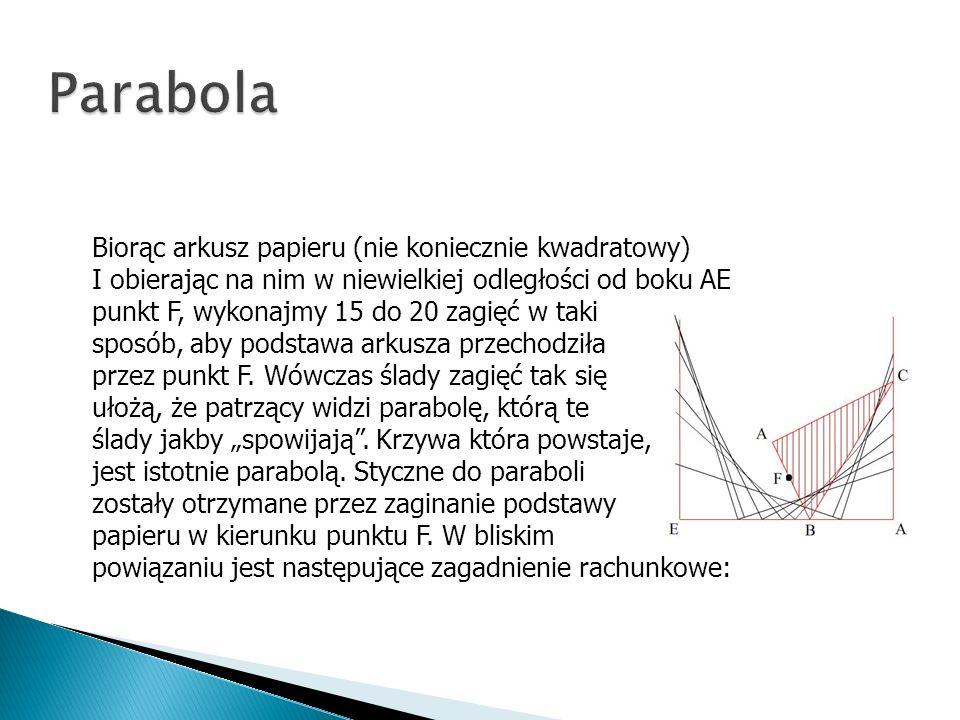 Parabola Biorąc arkusz papieru (nie koniecznie kwadratowy)