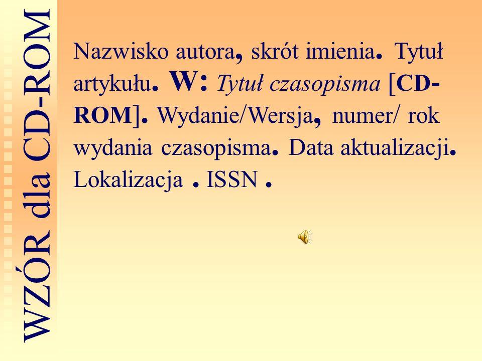 Nazwisko autora, skrót imienia. Tytuł artykułu