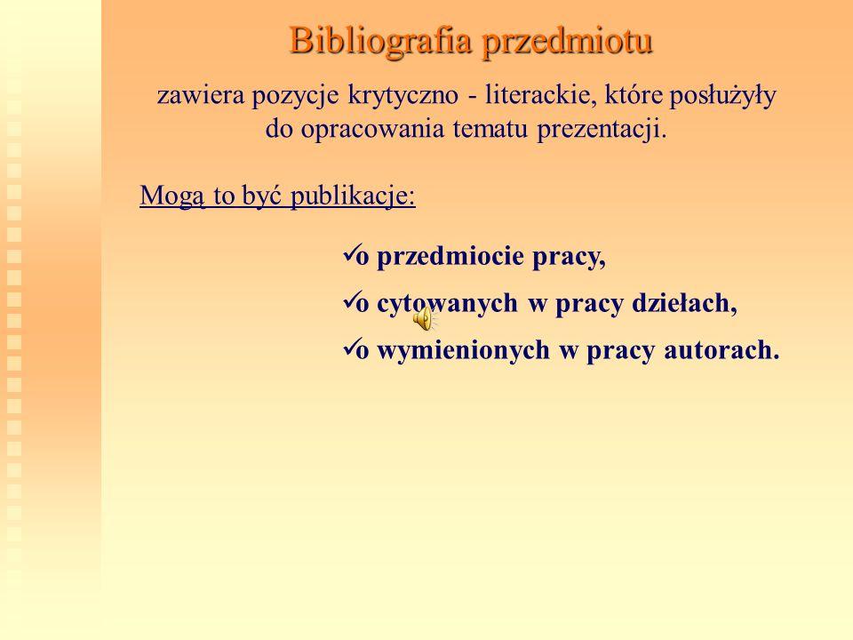 Bibliografia przedmiotu