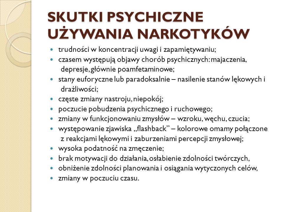 SKUTKI PSYCHICZNE UŻYWANIA NARKOTYKÓW