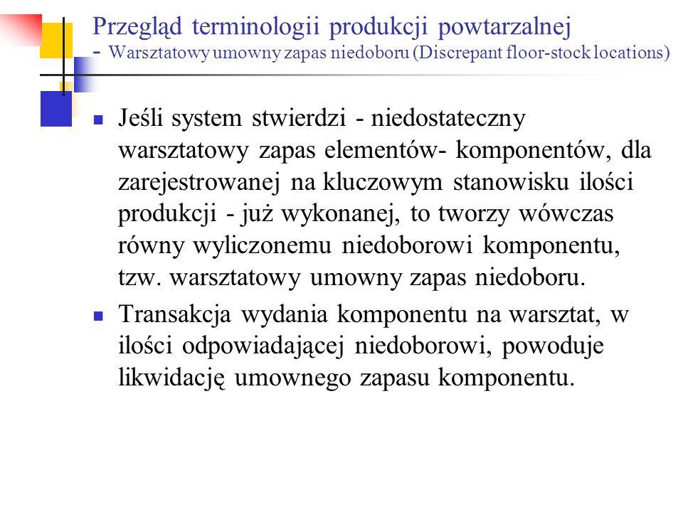 Przegląd terminologii produkcji powtarzalnej - Warsztatowy umowny zapas niedoboru (Discrepant floor-stock locations)