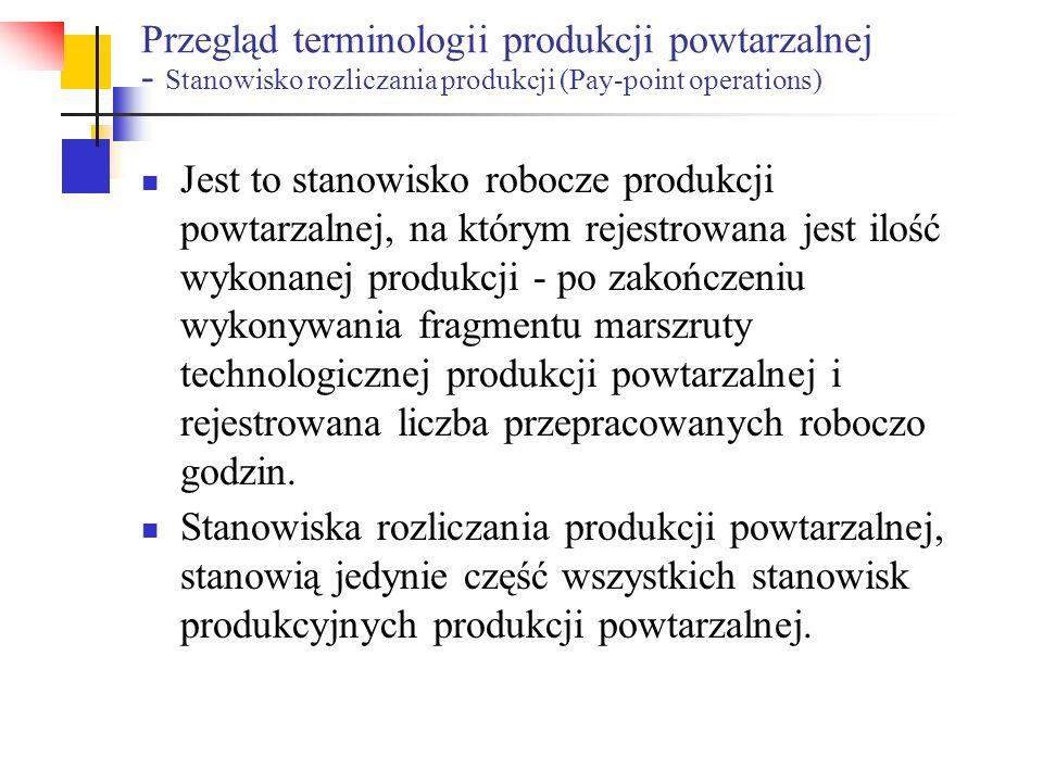 Przegląd terminologii produkcji powtarzalnej - Stanowisko rozliczania produkcji (Pay-point operations)