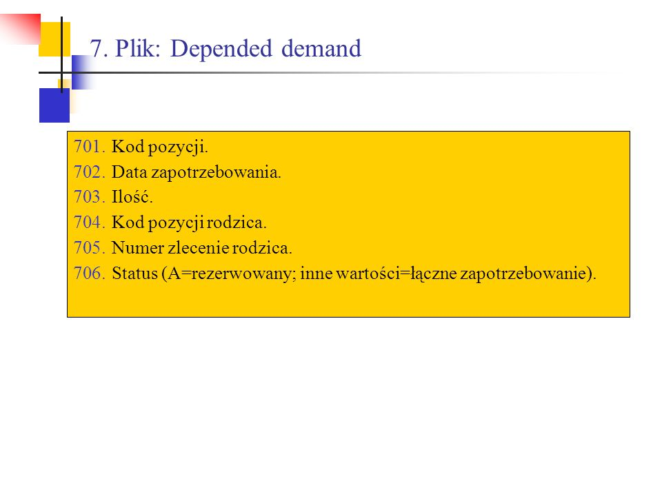 7. Plik: Depended demand Kod pozycji. Data zapotrzebowania. Ilość.