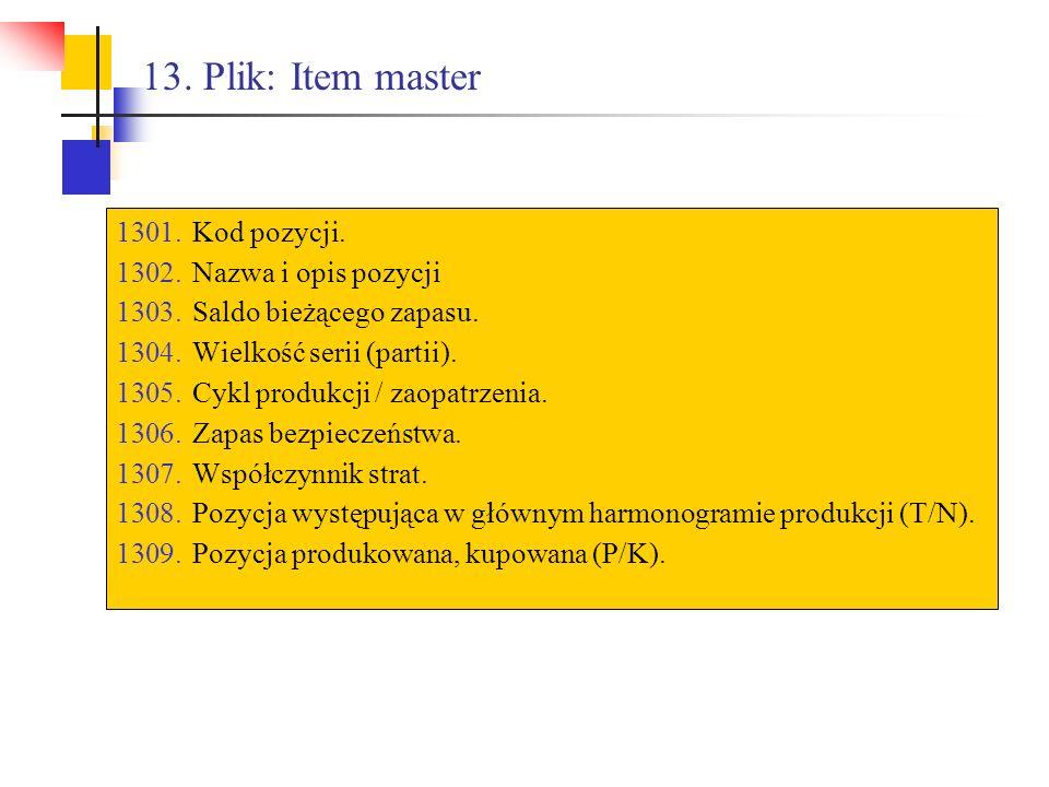 13. Plik: Item master Kod pozycji. Nazwa i opis pozycji