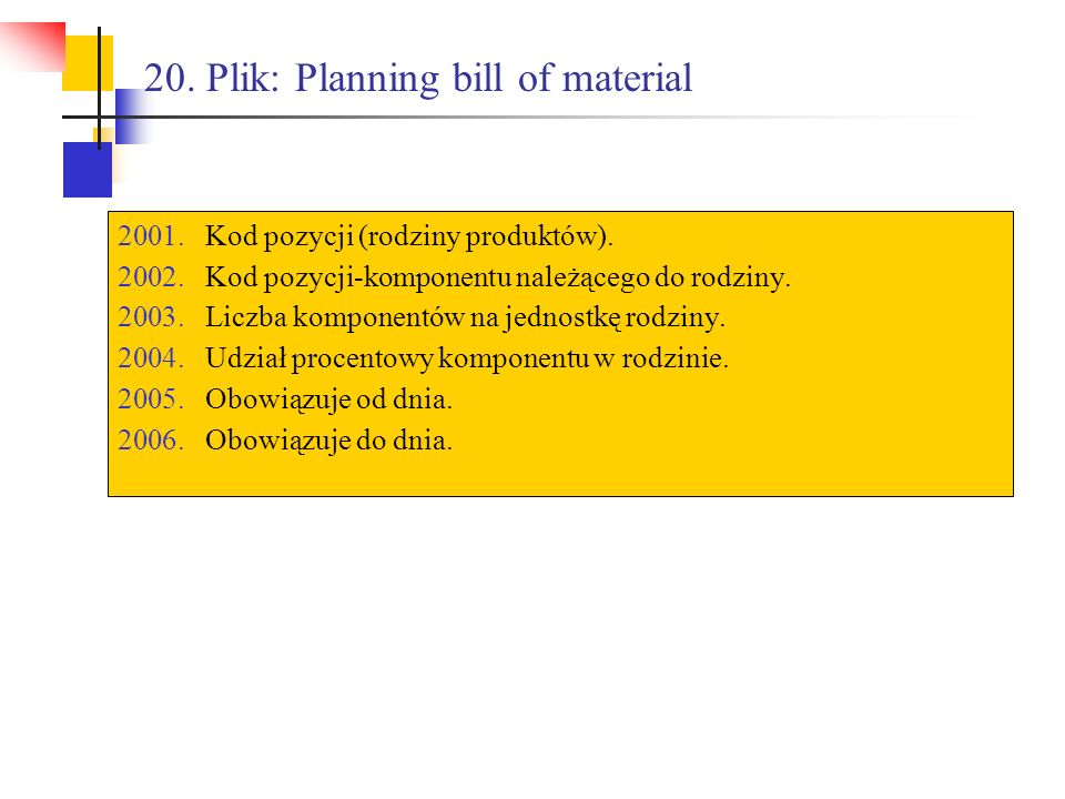 20. Plik: Planning bill of material