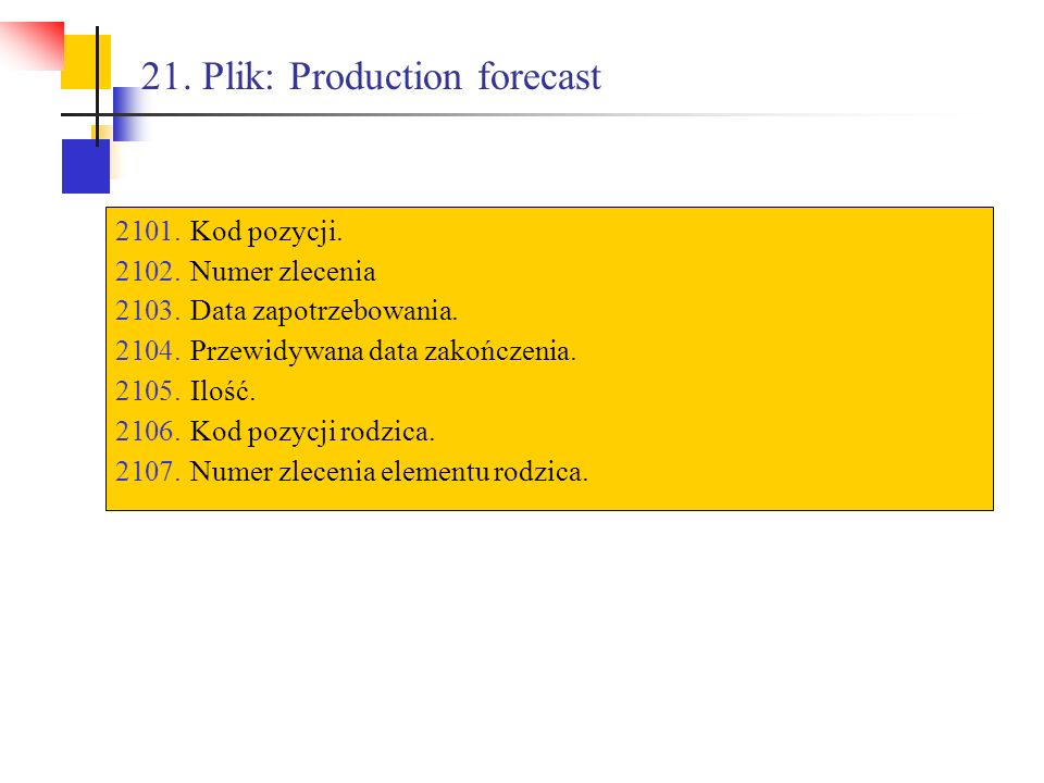 21. Plik: Production forecast