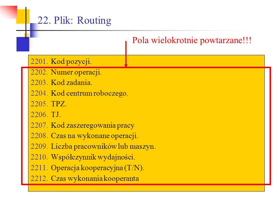 22. Plik: Routing Pola wielokrotnie powtarzane!!! Kod pozycji.