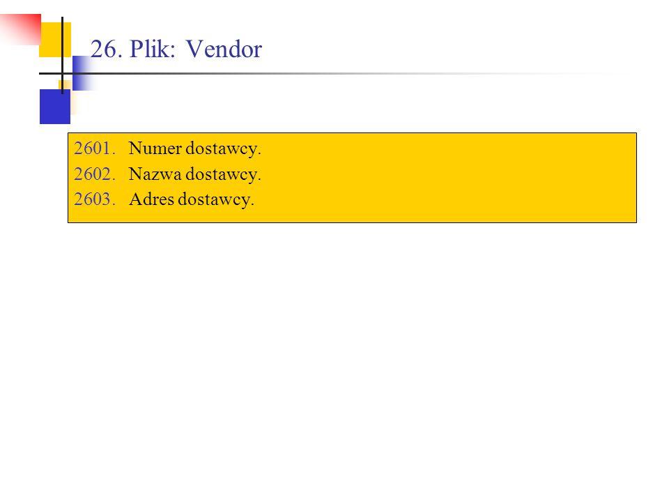 26. Plik: Vendor Numer dostawcy. Nazwa dostawcy. Adres dostawcy.