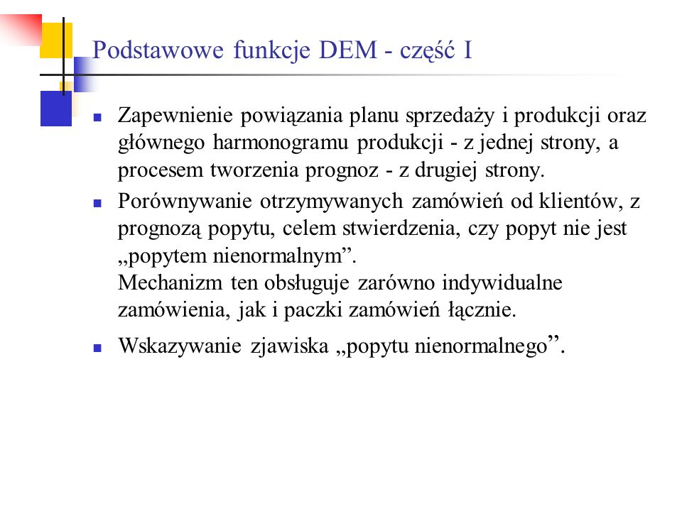 Podstawowe funkcje DEM - część I