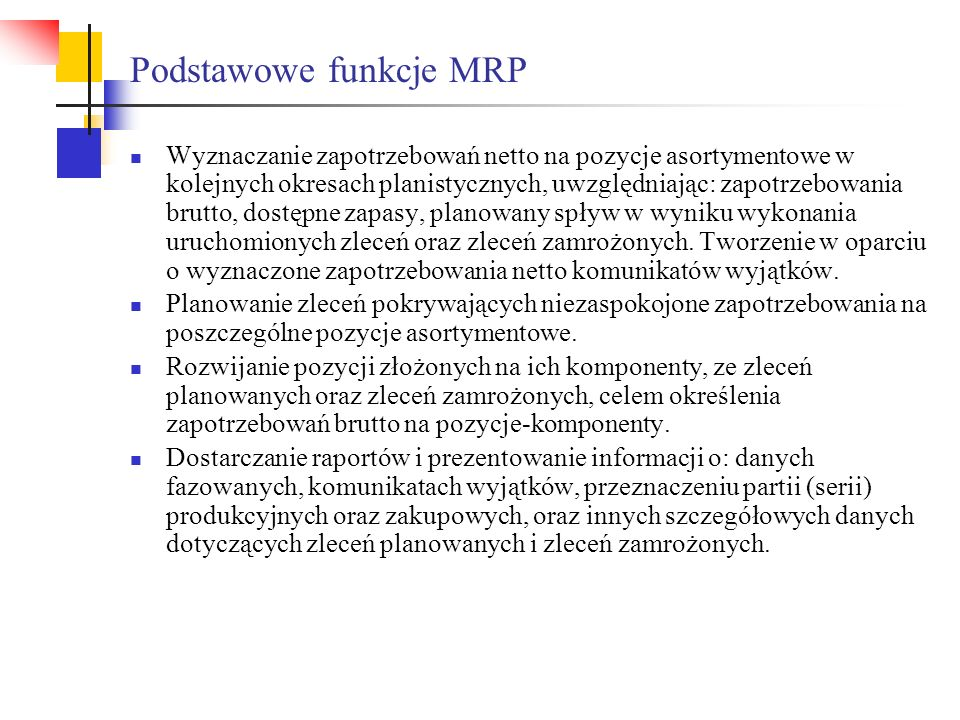 Podstawowe funkcje MRP