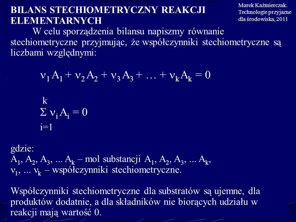 BILANS STECHIOMETRYCZNY REAKCJI ELEMENTARNYCH