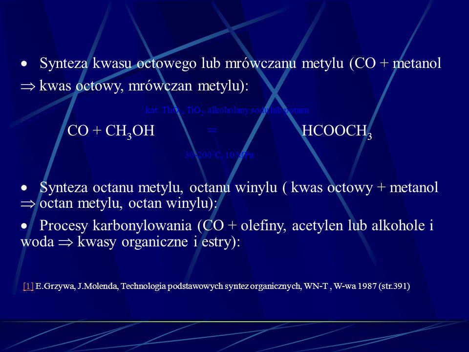 kat. ThO2, TiO2, alkoholany sodu lub potasu CO + CH3OH = HCOOCH3