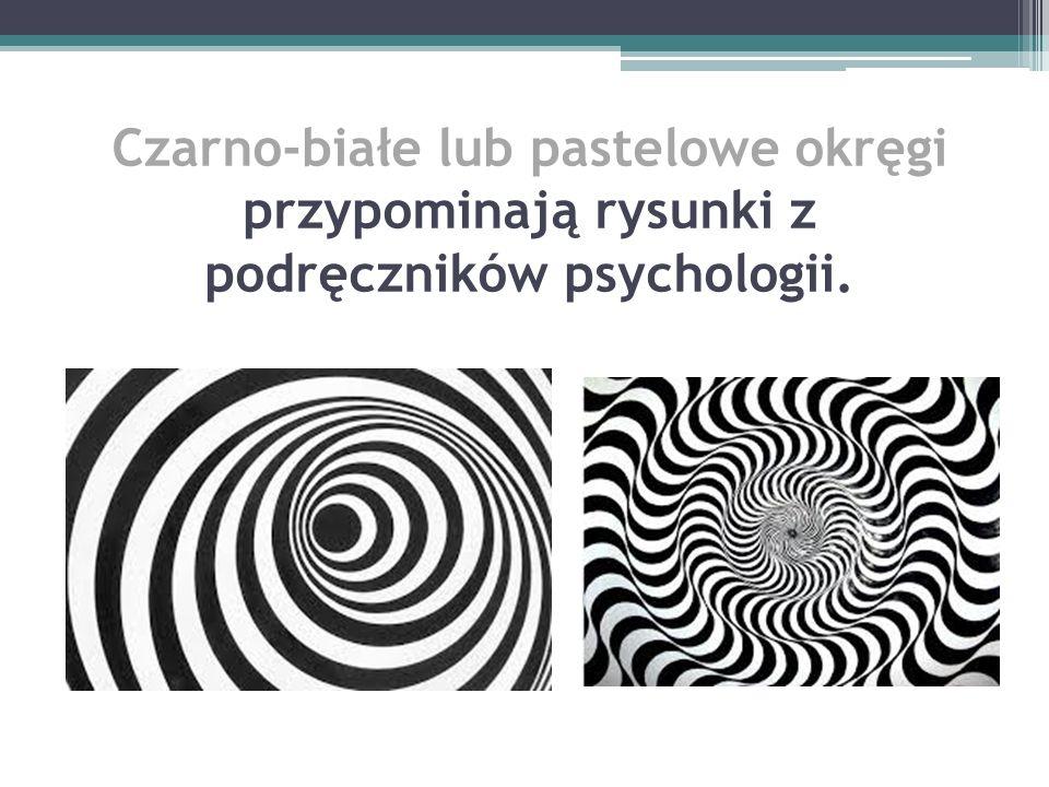 Czarno-białe lub pastelowe okręgi przypominają rysunki z podręczników psychologii.