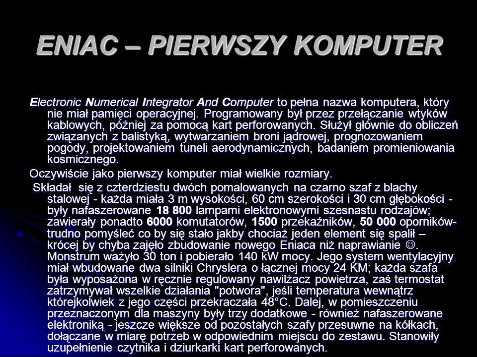ENIAC – PIERWSZY KOMPUTER