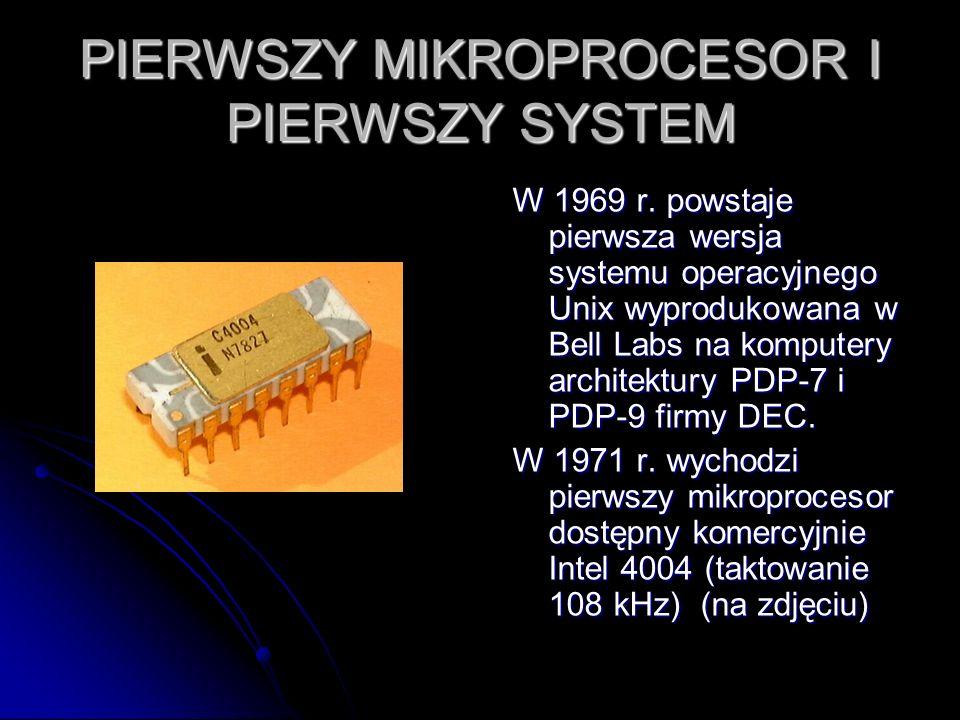 PIERWSZY MIKROPROCESOR I PIERWSZY SYSTEM