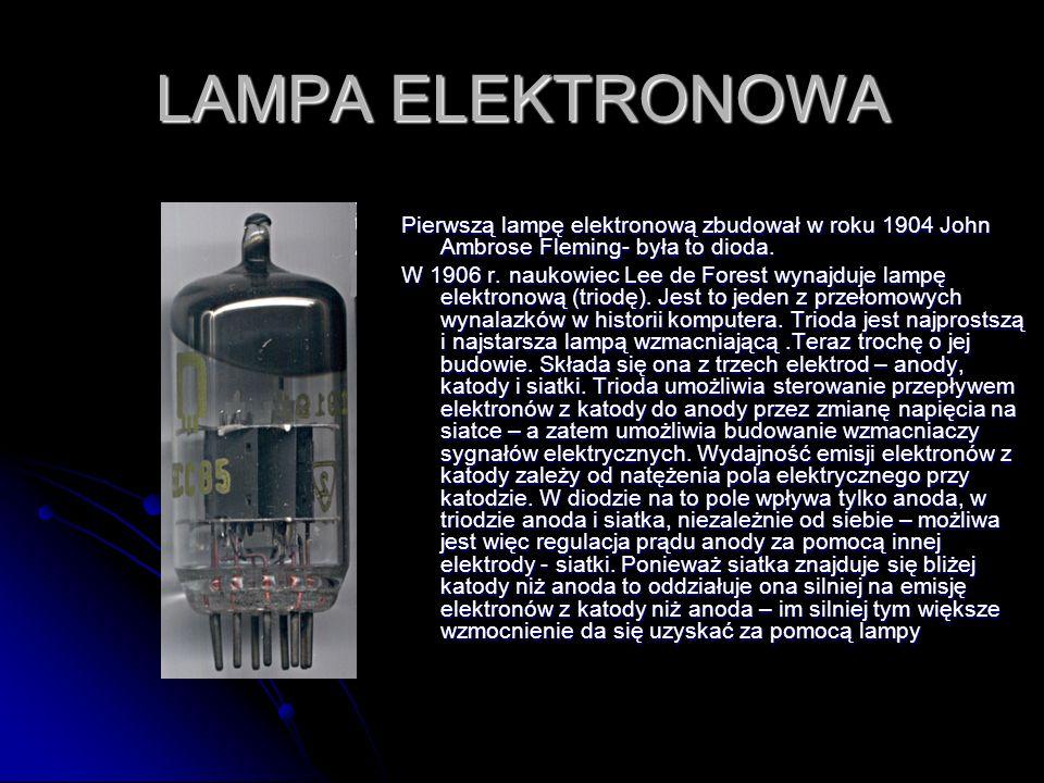 LAMPA ELEKTRONOWA Pierwszą lampę elektronową zbudował w roku 1904 John Ambrose Fleming- była to dioda.