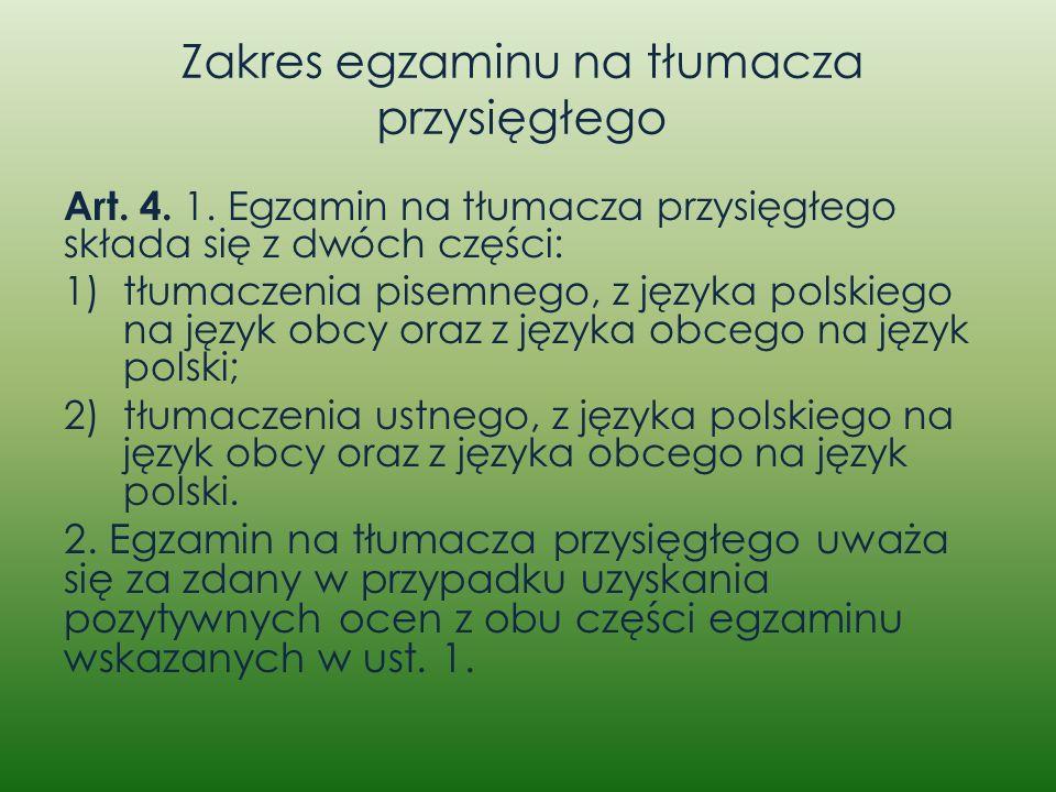 Zakres egzaminu na tłumacza przysięgłego