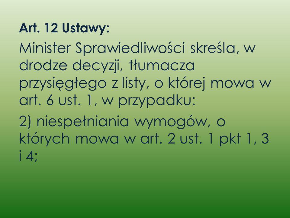 2) niespełniania wymogów, o których mowa w art. 2 ust. 1 pkt 1, 3 i 4;