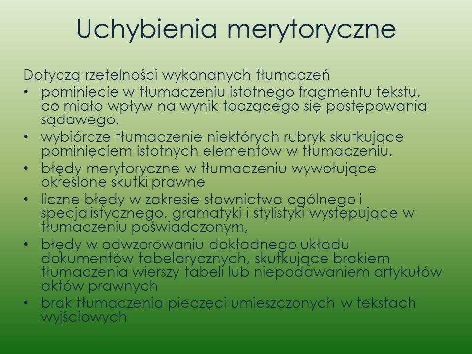 Uchybienia merytoryczne